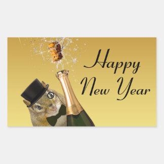 Niedlicher Chipmunk-glückliches neues Jahr Rechteckiger Aufkleber
