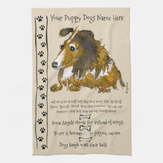 Niedlicher Collie-Cartoon-Hund zitiert Küchen-Tuch Handtuch