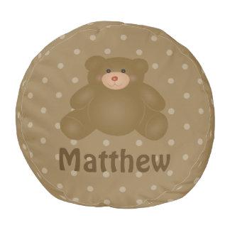 Niedlicher Cuddly Brown-Babyteddy-Bär und Runder Sitzpuff