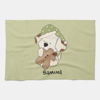 Niedlicher Cuddly Welpen-Hund mit Ingwer-Brot-Mann Geschirrtuch