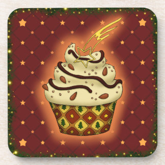 Niedlicher Cupcake mit Mandeln, Schokolade Getränkeuntersetzer