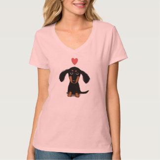 Niedlicher Dackel-Welpe mit Valentine-Herzen T-Shirt