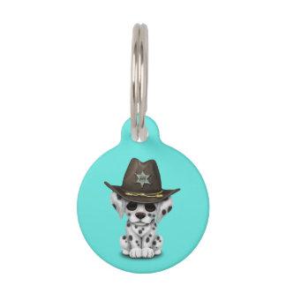 Niedlicher dalmatinischer Welpen-Sheriff Haustiermarke