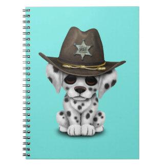 Niedlicher dalmatinischer Welpen-Sheriff Notizblock