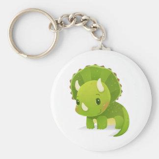 niedlicher Dinosaurier-Cartoon des grünen Babys Schlüsselanhänger