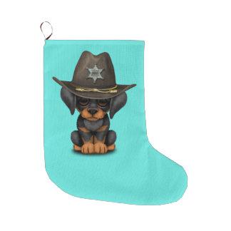 Niedlicher Dobermann-Welpen-Hundesheriff Großer Weihnachtsstrumpf