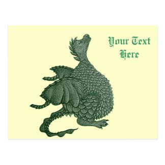 niedlicher Drache mythisch und Postkarte