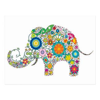 Niedlicher Elefant-Blumenmuster - kundengerecht! Postkarte