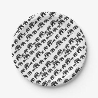 Niedlicher Elefant-Familien-Silhouetteentwurf Pappteller