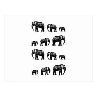 Niedlicher Elefant-Familien-Silhouetteentwurf Postkarte