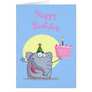 Niedlicher Elefant mit Geburtstags-Kuchen Grußkarte