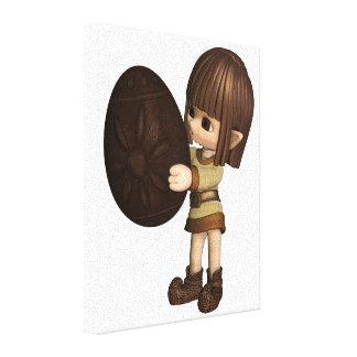Niedlicher Elf Toon Ostern - Schokolade Leinwanddruck