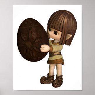 Niedlicher Elf Toon Ostern - Schokolade Poster