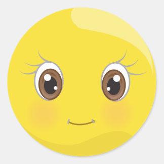 Niedlicher Emoji smiley mit Eyelashes-Aufklebern Runder Aufkleber