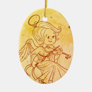 Niedlicher Engel, der Violine spielt Keramik Ornament