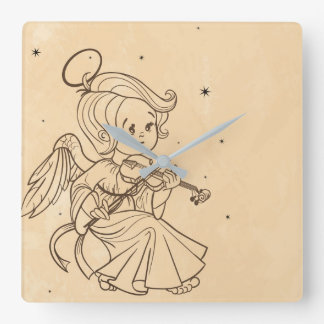 Niedlicher Engel, der Violine spielt Quadratische Wanduhr