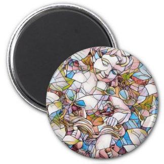 Niedlicher Engel in Garten-beflecktem Glas Runder Magnet 5,1 Cm