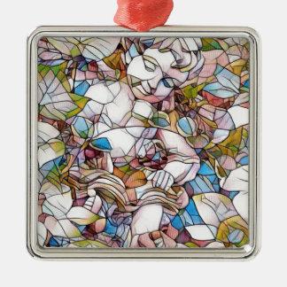 Niedlicher Engel in Garten-beflecktem Glas Silbernes Ornament