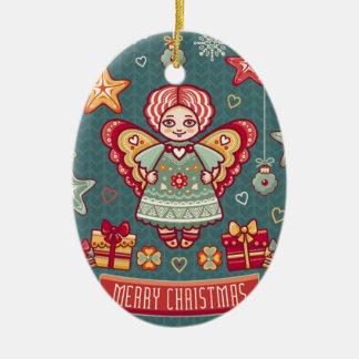 Niedlicher Engel und Geschenke der frohen Keramik Ornament