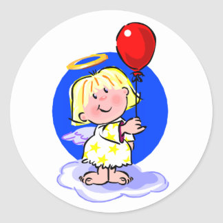 Niedlicher Engel und roter Ballon Runder Aufkleber
