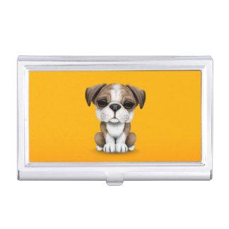 Niedlicher englischer Bulldoggen-Welpe auf Gelb Visitenkarten Etui