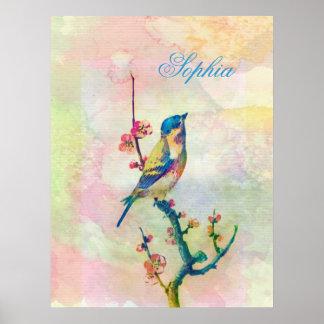 Niedlicher entzückender Vintager Wasserfarbevogel Poster