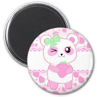Niedlicher Erdbeerrosa Kawaii Pandabär Runder Magnet 5,1 Cm