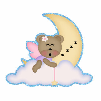 niedlicher feenhafter Bär, der auf dem Mond Nicker Freistehende Fotoskulptur