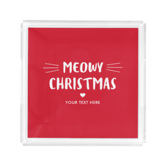 Niedlicher Feiertag Katze Meowy Weihnachten| Acryl Tablett