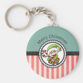 Niedlicher Feiertags-Elf mit Zuckerstange-frohen Standard Runder Schlüsselanhänger