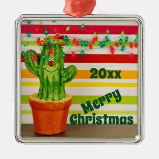 Niedlicher Feiertags-Kaktus-südwestliche frohe Silbernes Ornament