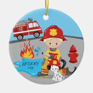Niedlicher Feuerwehrmann-blondes Keramik Ornament