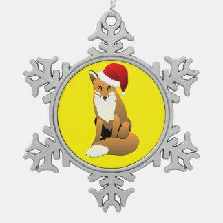 Niedlicher Fox in der Weihnachtsmannmütze Schneeflocken Zinn-Ornament