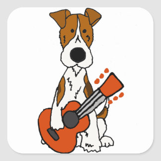 Niedlicher Fox-Terrier, der Gitarren-Kunst legt Quadratischer Aufkleber