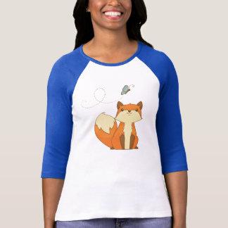 Niedlicher Fox- und Fliegen-Schmetterling T-Shirt