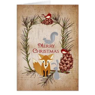Niedlicher Fox und Waldtier-frohe Weihnachten Karte