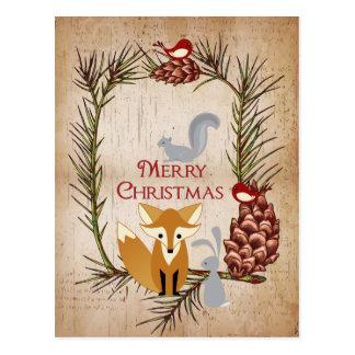 Niedlicher Fox und Waldtier-frohe Weihnachten Postkarte