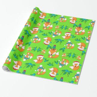 Niedlicher Fox-Weihnachtsthema-Muster-Druck Geschenkpapier