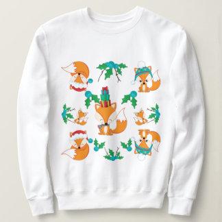 Niedlicher Fox-Weihnachtsthema-Muster-Druck Sweatshirt