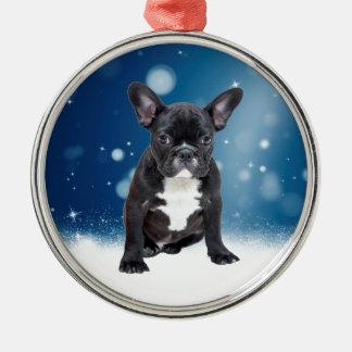 Niedlicher französische Bulldoggen-Schnee hat Rundes Silberfarbenes Ornament
