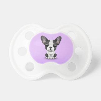 Niedlicher französische Bulldoggen-Welpen-Hund auf Baby Schnuller