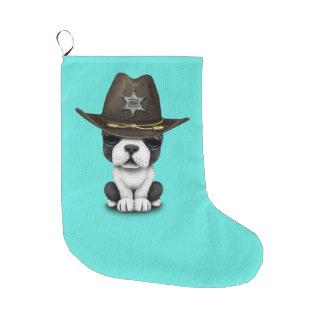 Niedlicher französische Bulldoggen-Welpen-Sheriff Großer Weihnachtsstrumpf