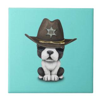 Niedlicher französische Bulldoggen-Welpen-Sheriff Keramikfliese