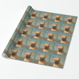 Niedlicher französische Bulldoggen-Welpen-Vintages Geschenkpapier