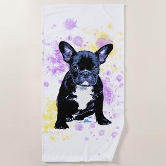 Niedlicher französische BulldoggeWatercolor Inky Strandtuch