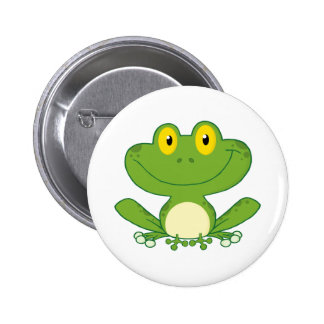 Niedlicher Frosch-Cartoon-Charakter Runder Button 5,7 Cm