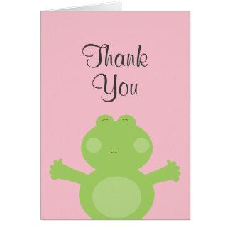 Niedlicher Frosch danken Ihnen zu kardieren Karte