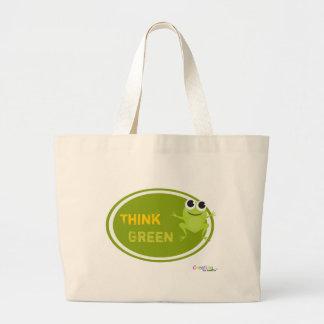 """Niedlicher Frosch """"denke ökologisch """" Jumbo Stoffbeutel"""