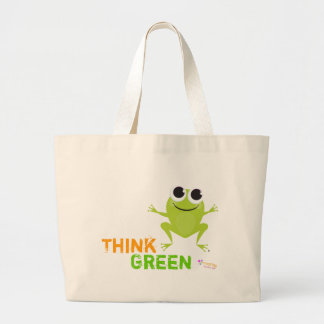 """Niedlicher Frosch """"denke ökologisch """" Tragetaschen"""