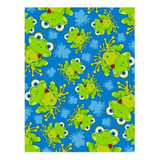 Niedlicher Frosch-gemusterte Postkarte